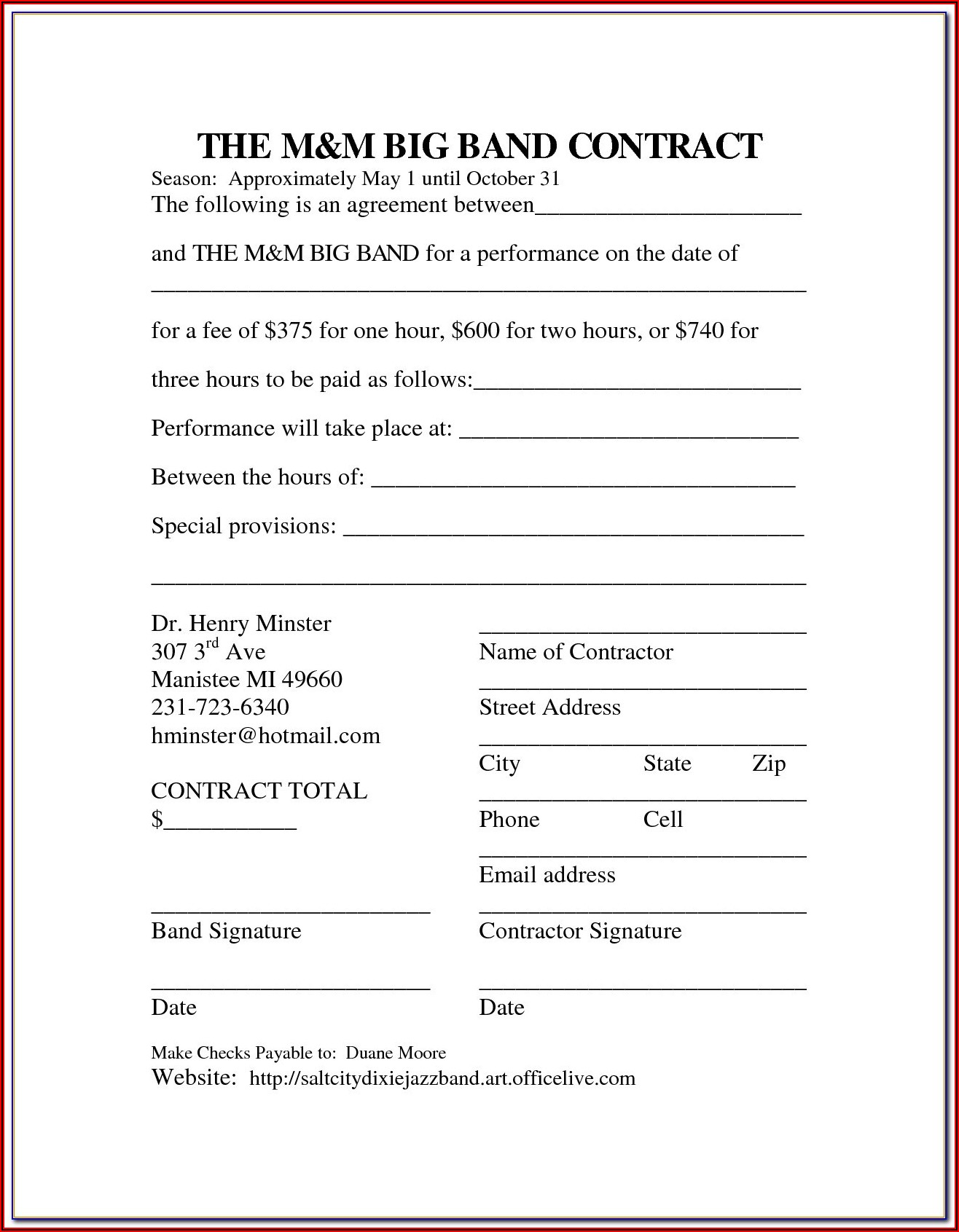 Musicians Contract Template