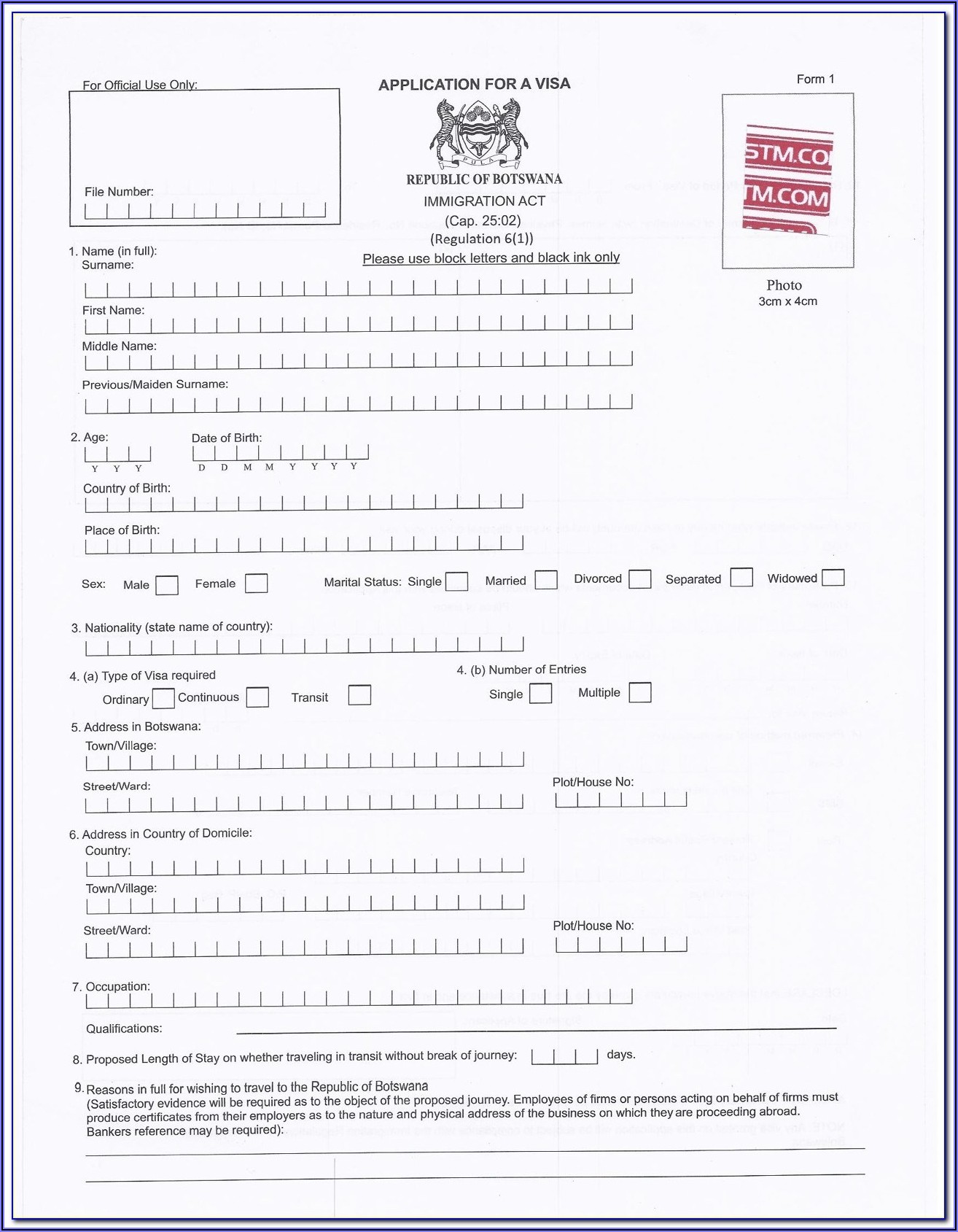 Myanmar Embassy Visa Application Form
