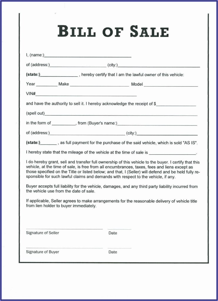Nc Boat Bill Of Sale Form Free