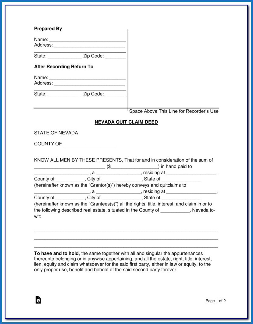 Nevada Quit Claim Deed Form Pdf
