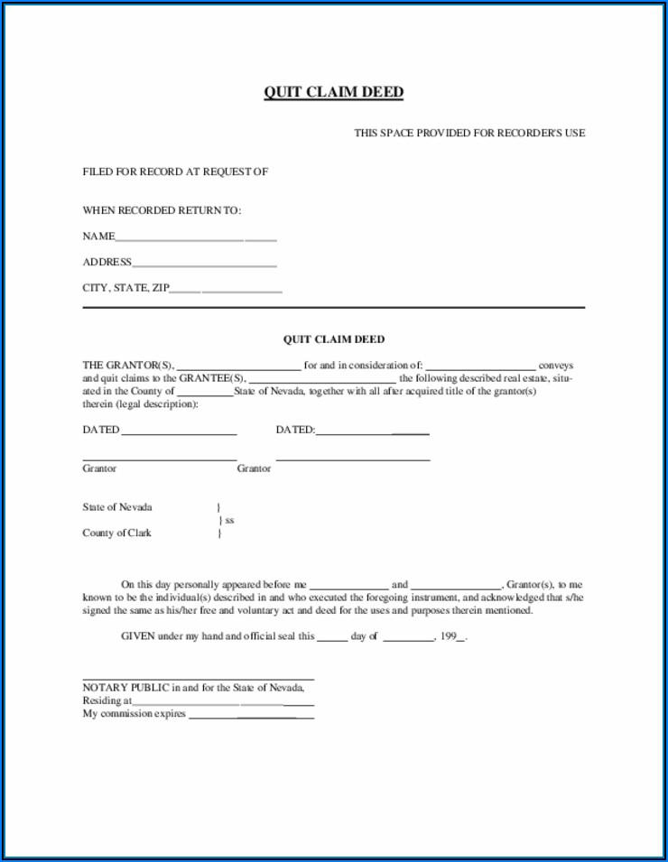 Nevada Quit Claim Deed Template