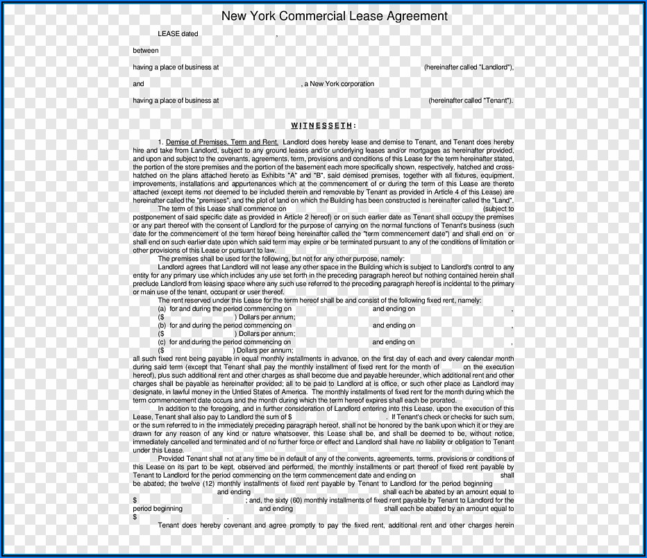 New York Commercial Lease Agreement Form