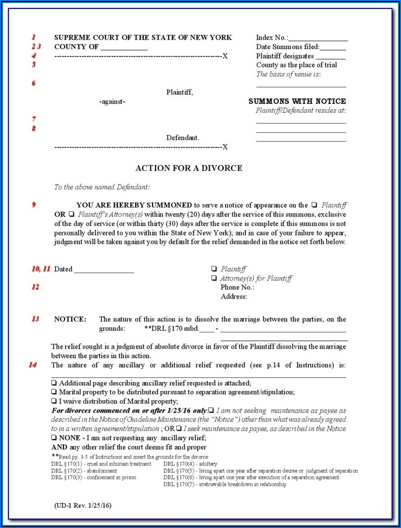 New York State Contested Divorce Forms