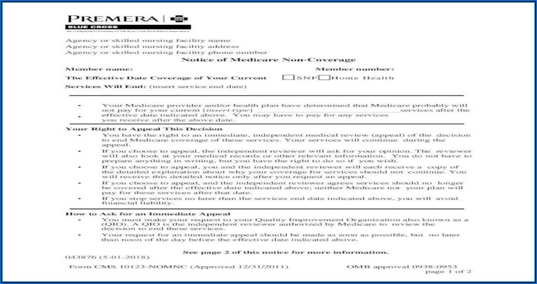 Notice Of Medicare Provider Non Coverage Form