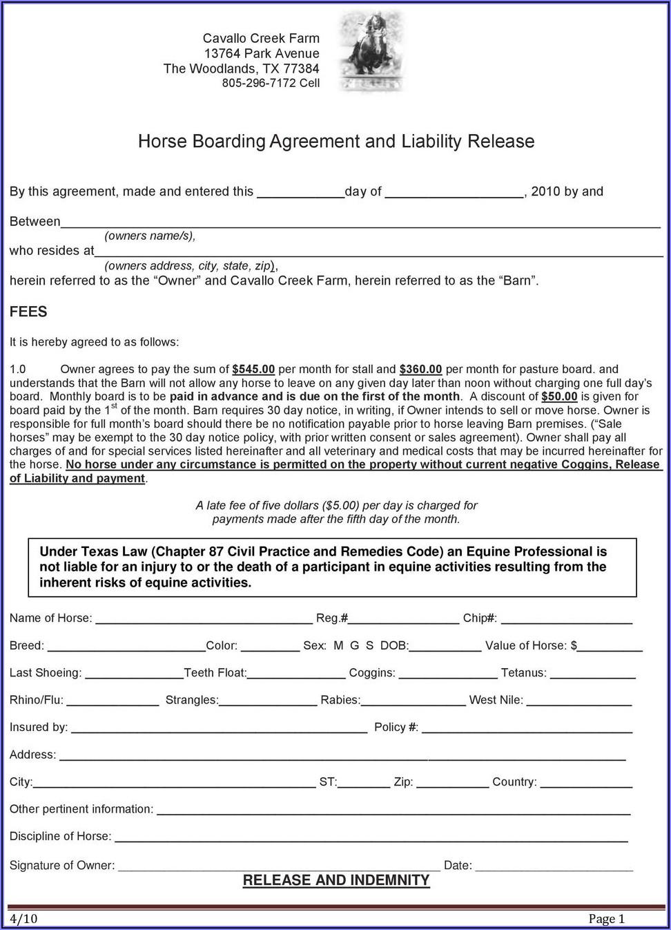 Ohio Equine Liability Release Form