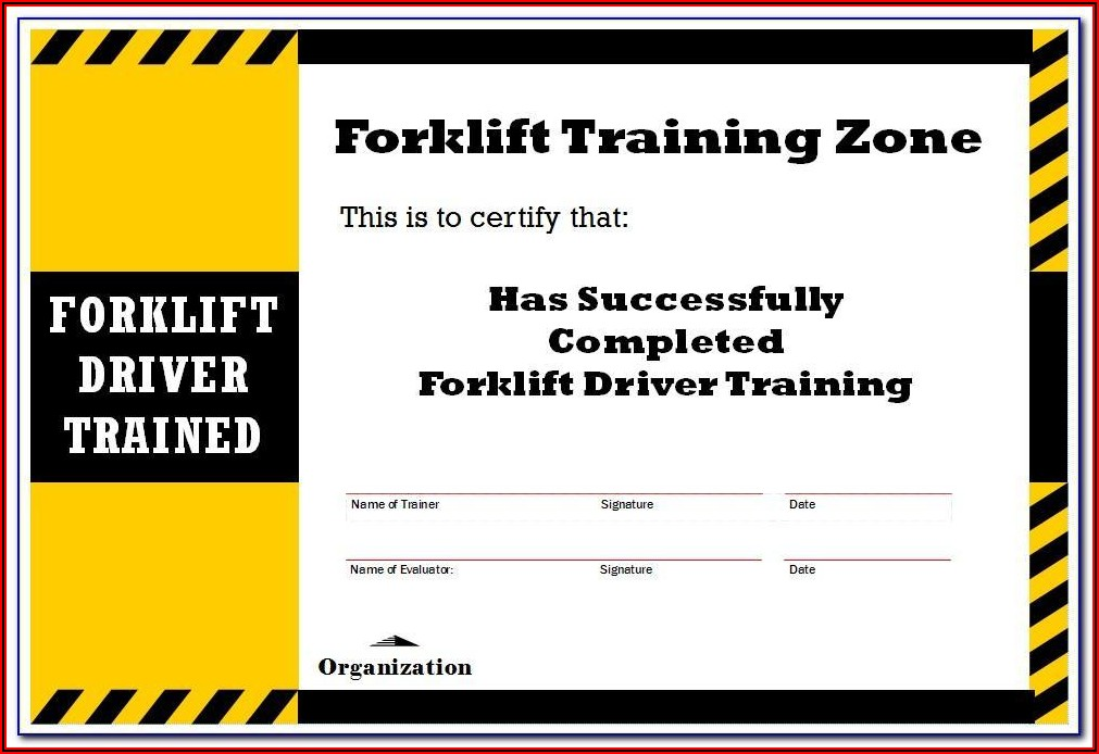 Osha Forklift License Template