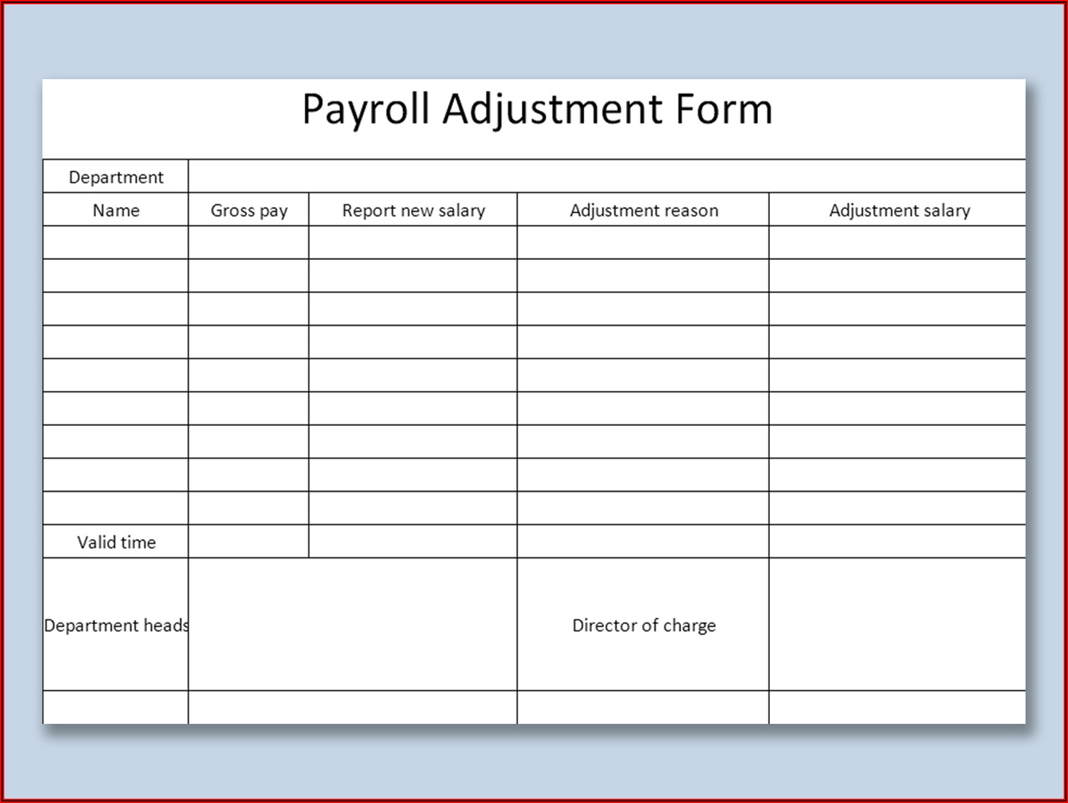 Payroll Form Template