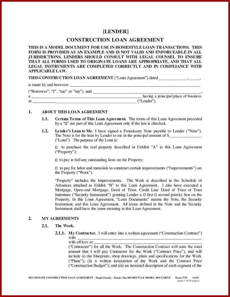 Personal Loan Agreement Sample Word