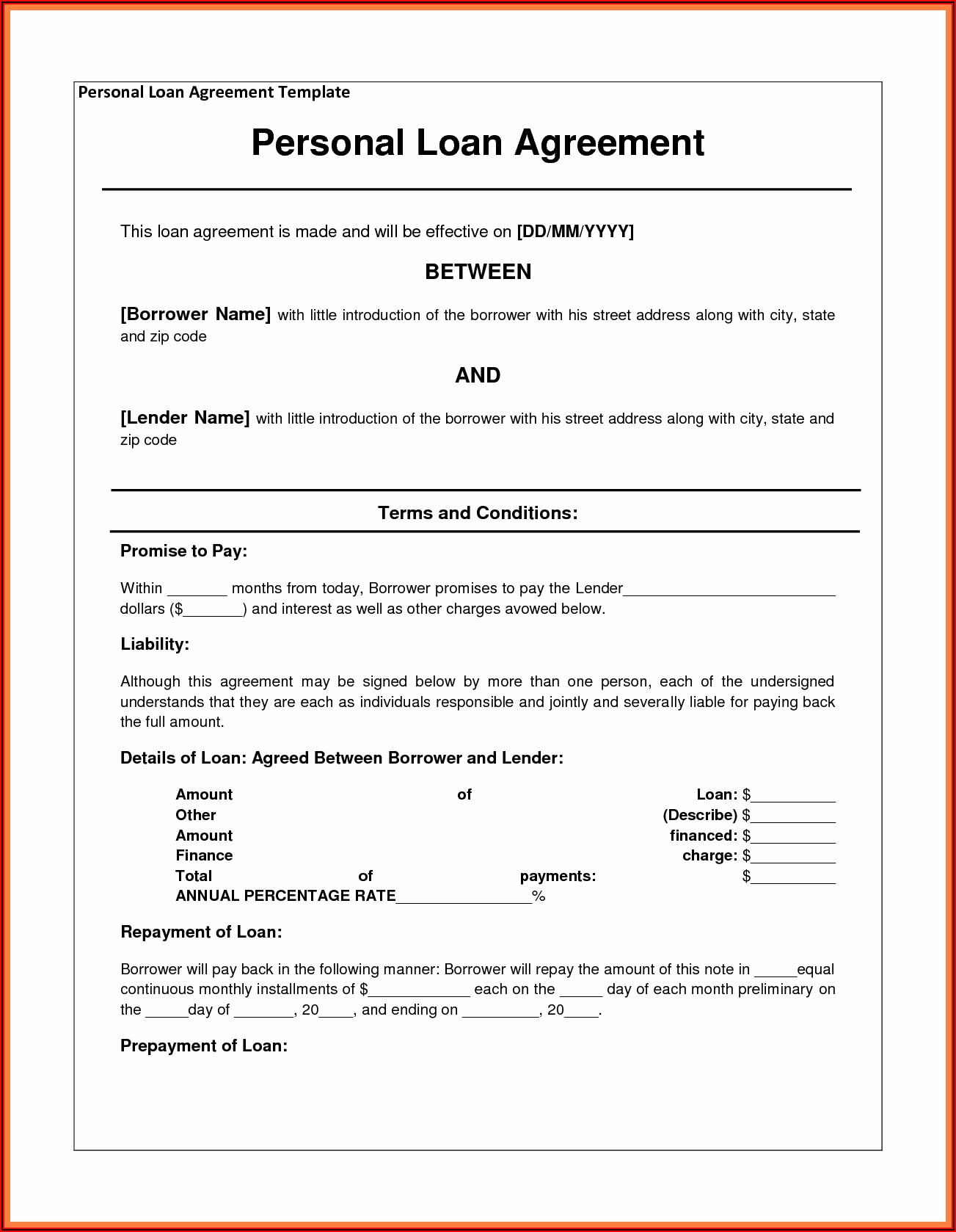Personal Loan Agreement Template Ms Word