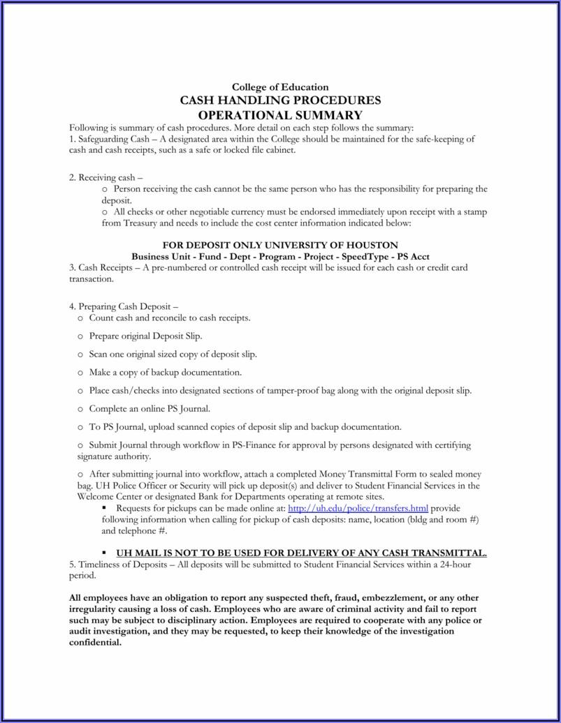 Petty Cash Receipt Acknowledgement Form