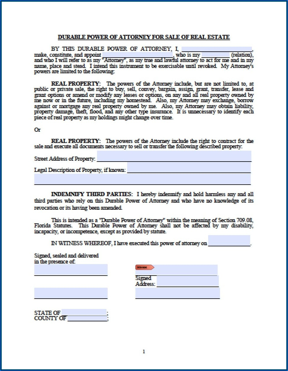 Power Of Attorney Form Florida Child