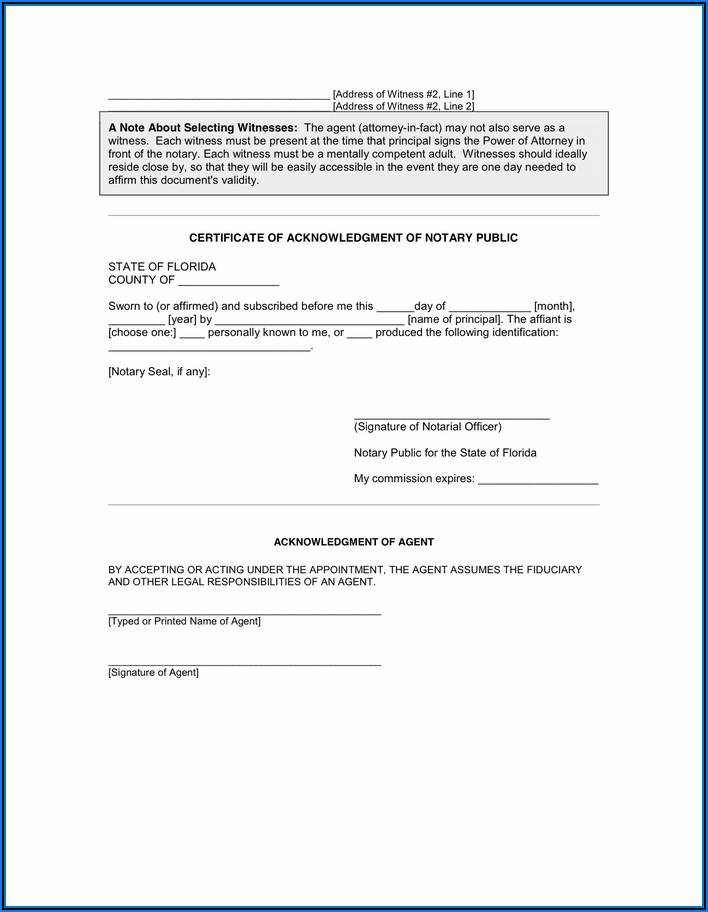 Power Of Attorney Form Florida Durable