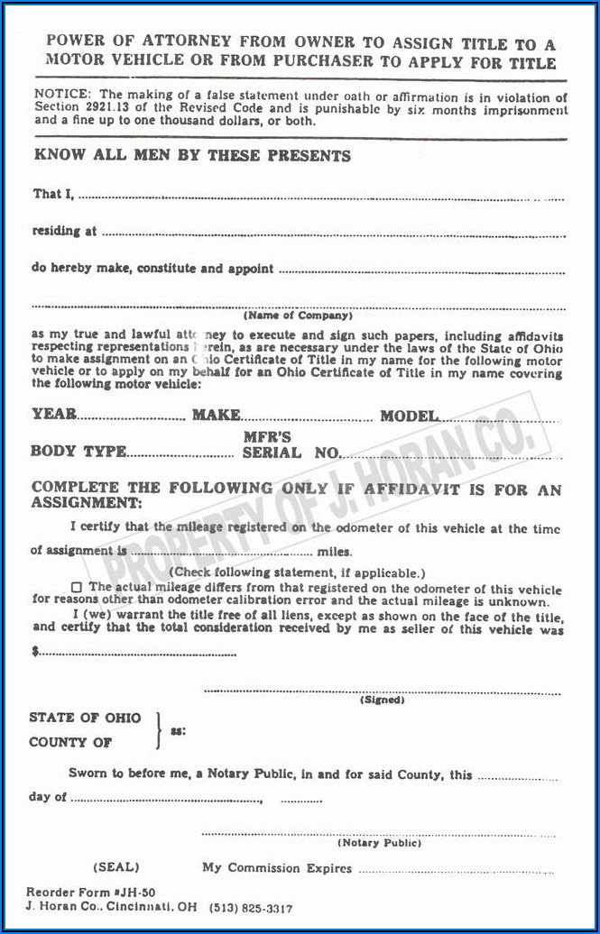 Power Of Attorney Form Florida Printable