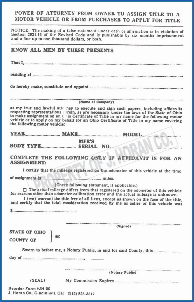 Power Of Attorney Form Florida Printable