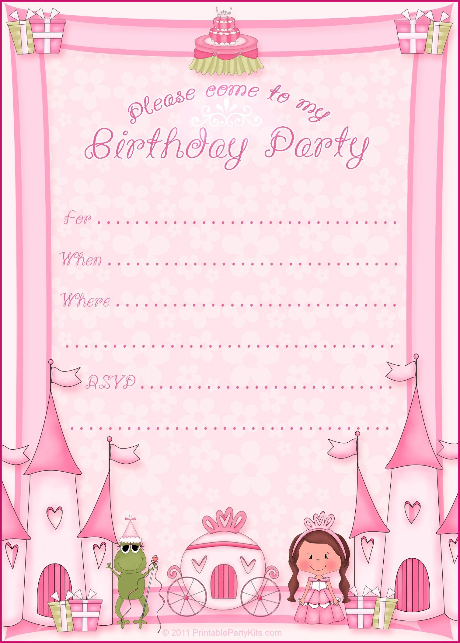 Princess Birthday Templates Free