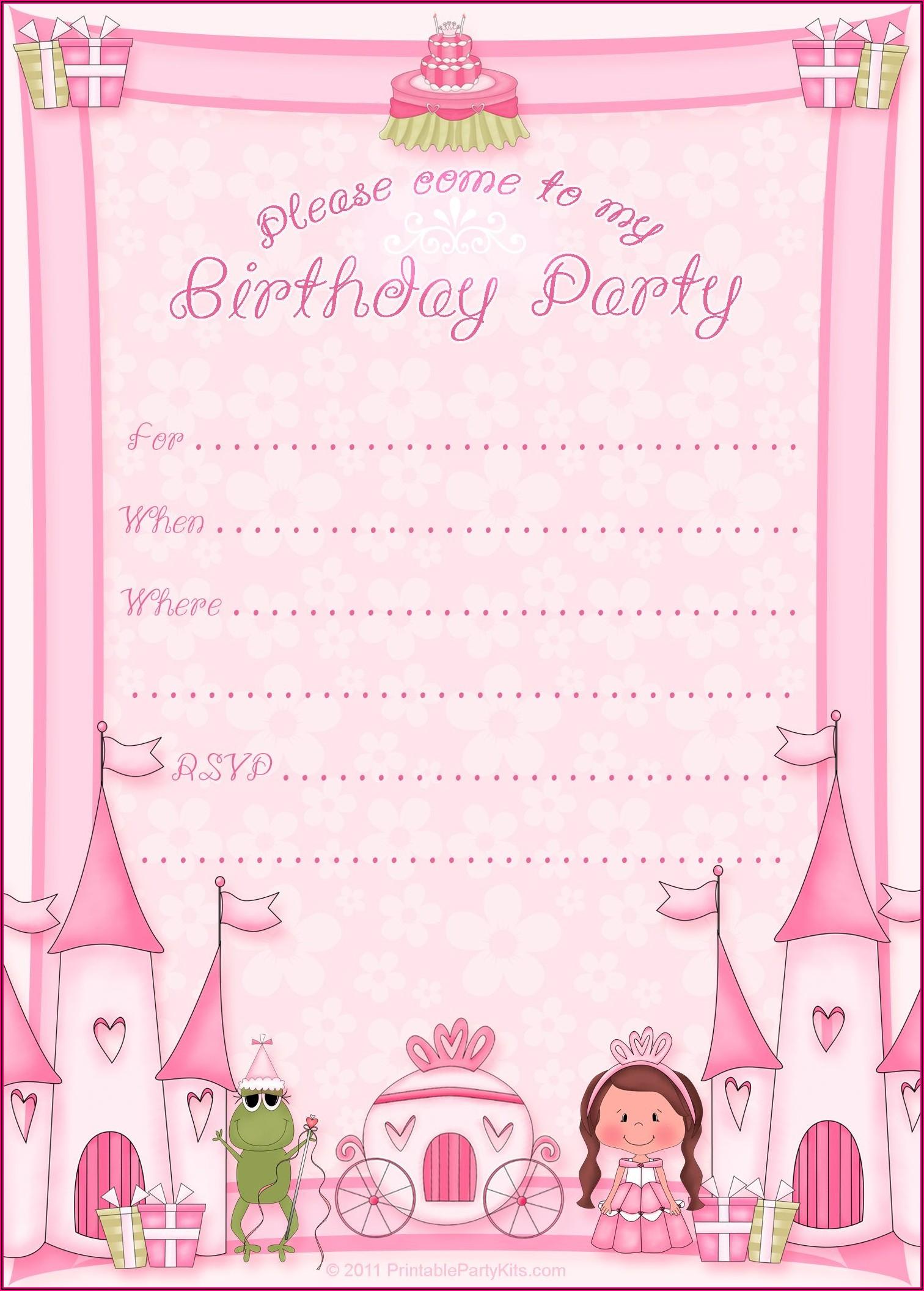 Princess Birthday Templates Free