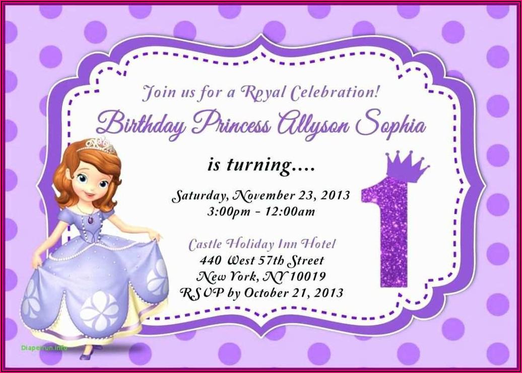 Princess Sofia Birthday Card Template