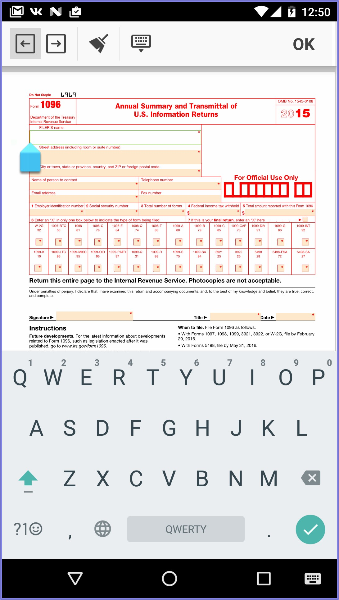 Printable 1096 Form 2018 Pdf