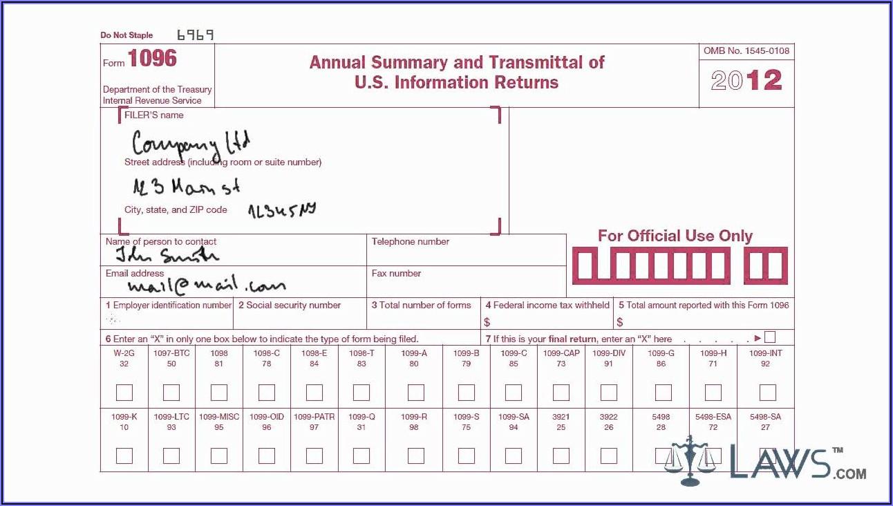 Printable 1096 Form 2019 Free