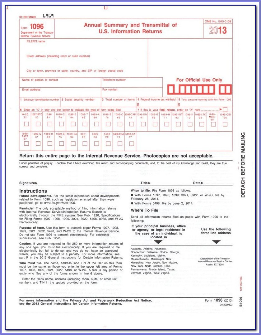 Printable 1096 Form 2019 Irs