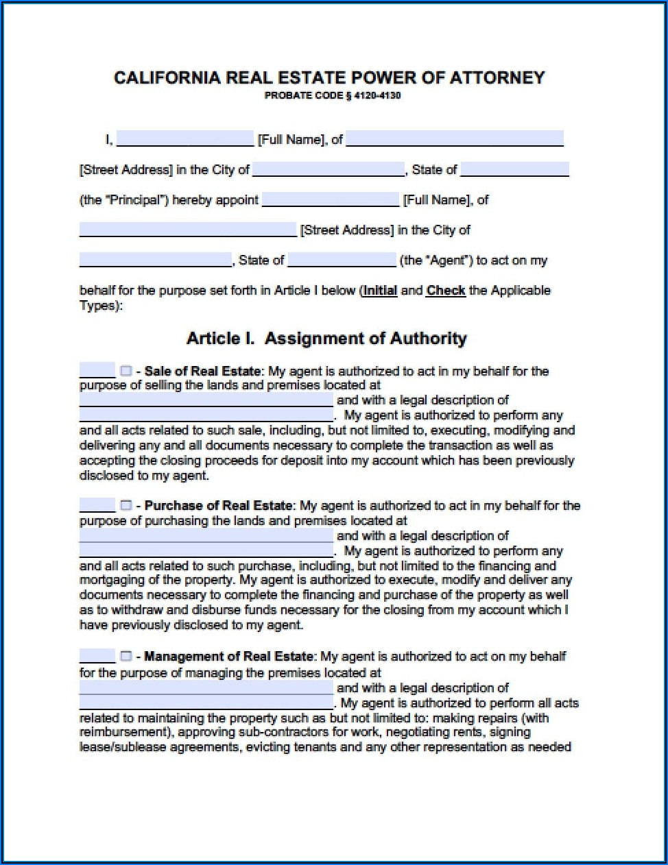 Printable Durable Power Of Attorney Form California