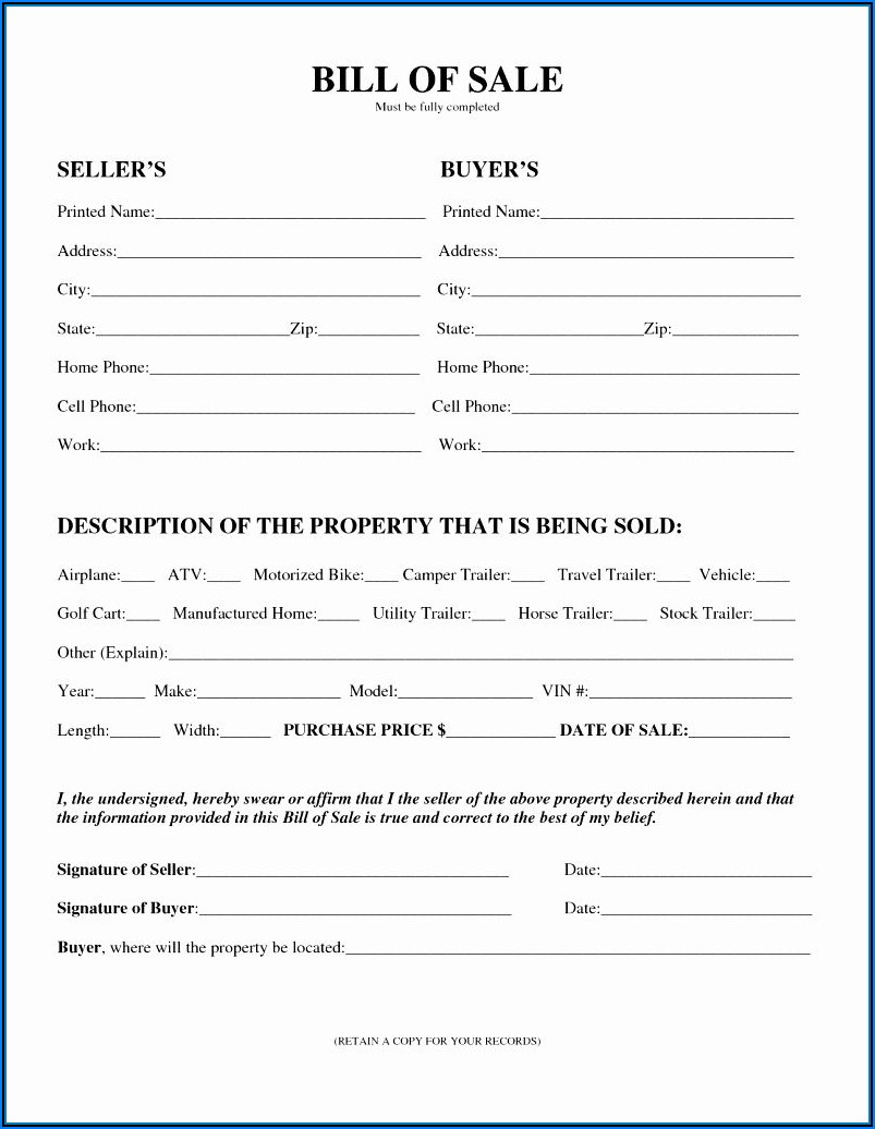 Printable General Bill Of Sale Form