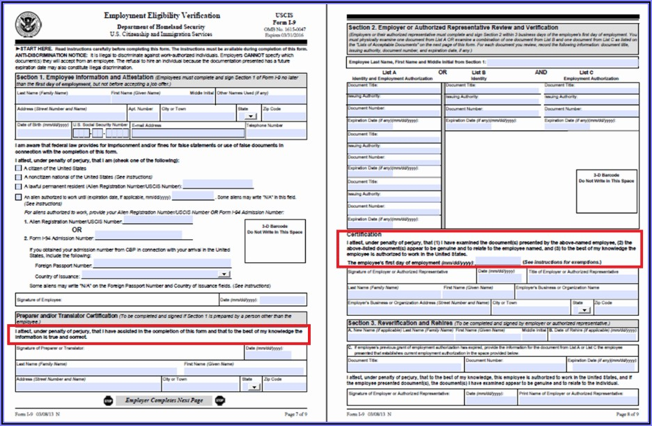 Printable I 9 Form For Employees 2018