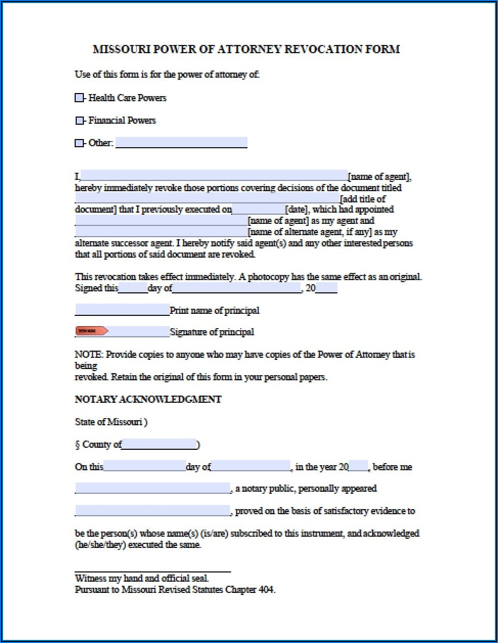 Printable Power Of Attorney Form For Missouri