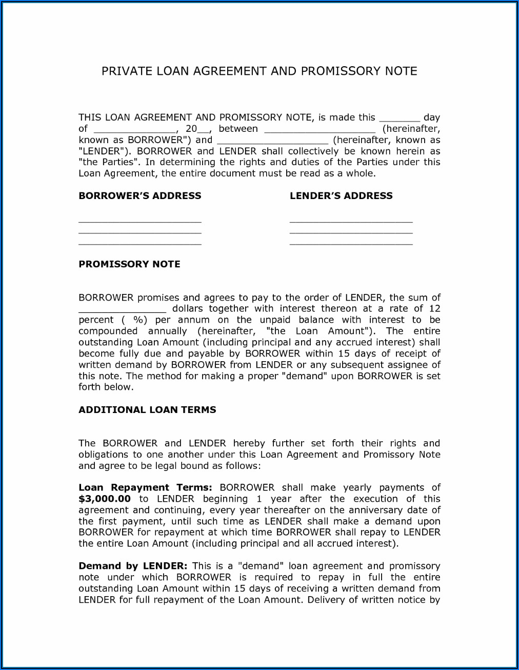 Private Loan Contract Sample