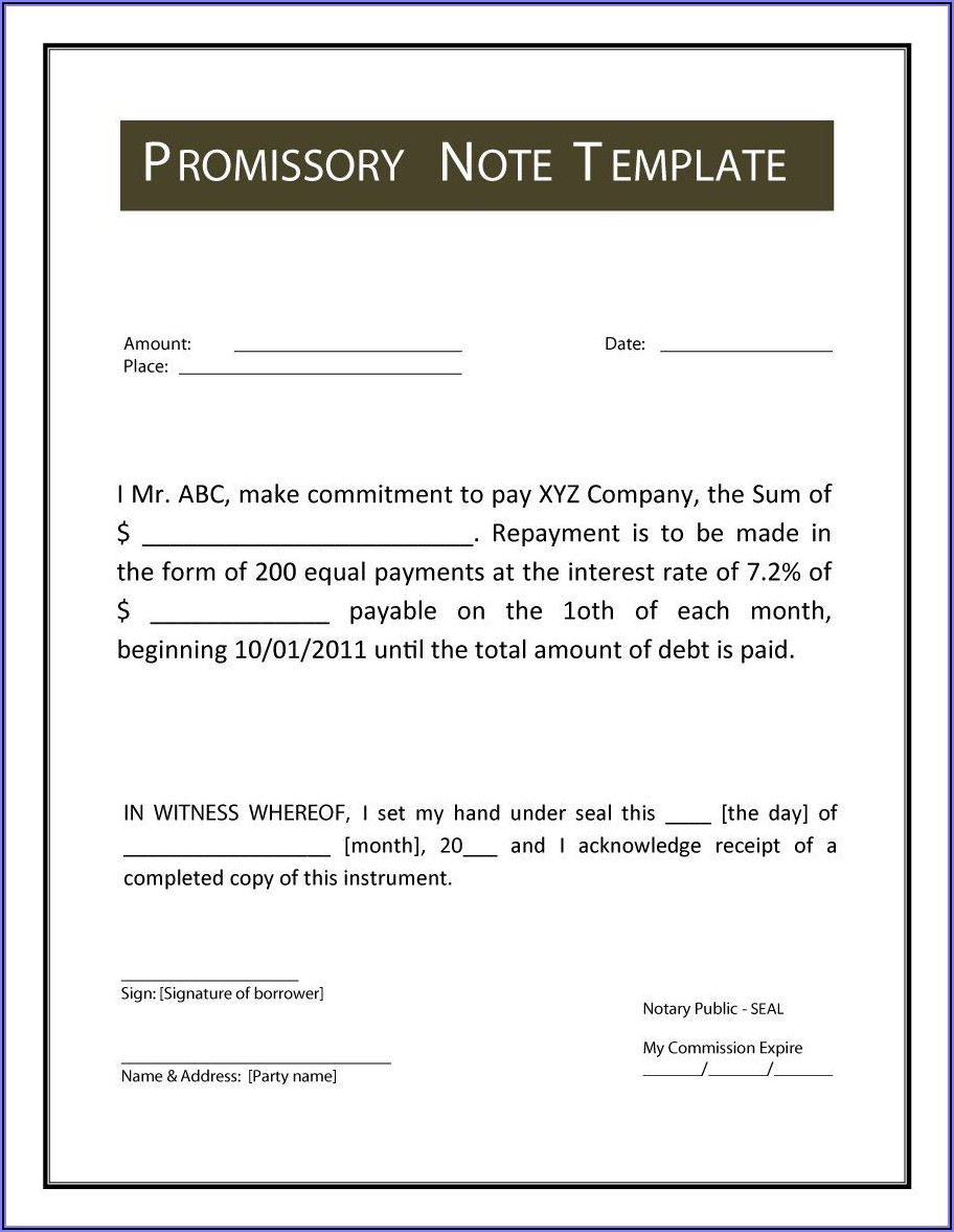 Promissory Note Format In Word