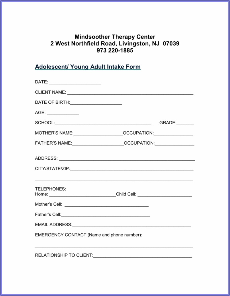 Psychotherapy Intake Forms Download