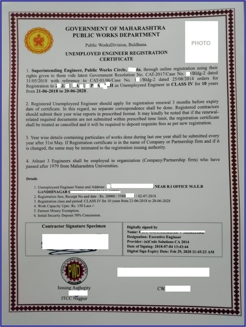 Pwd Contractor Registration Form Maharashtra