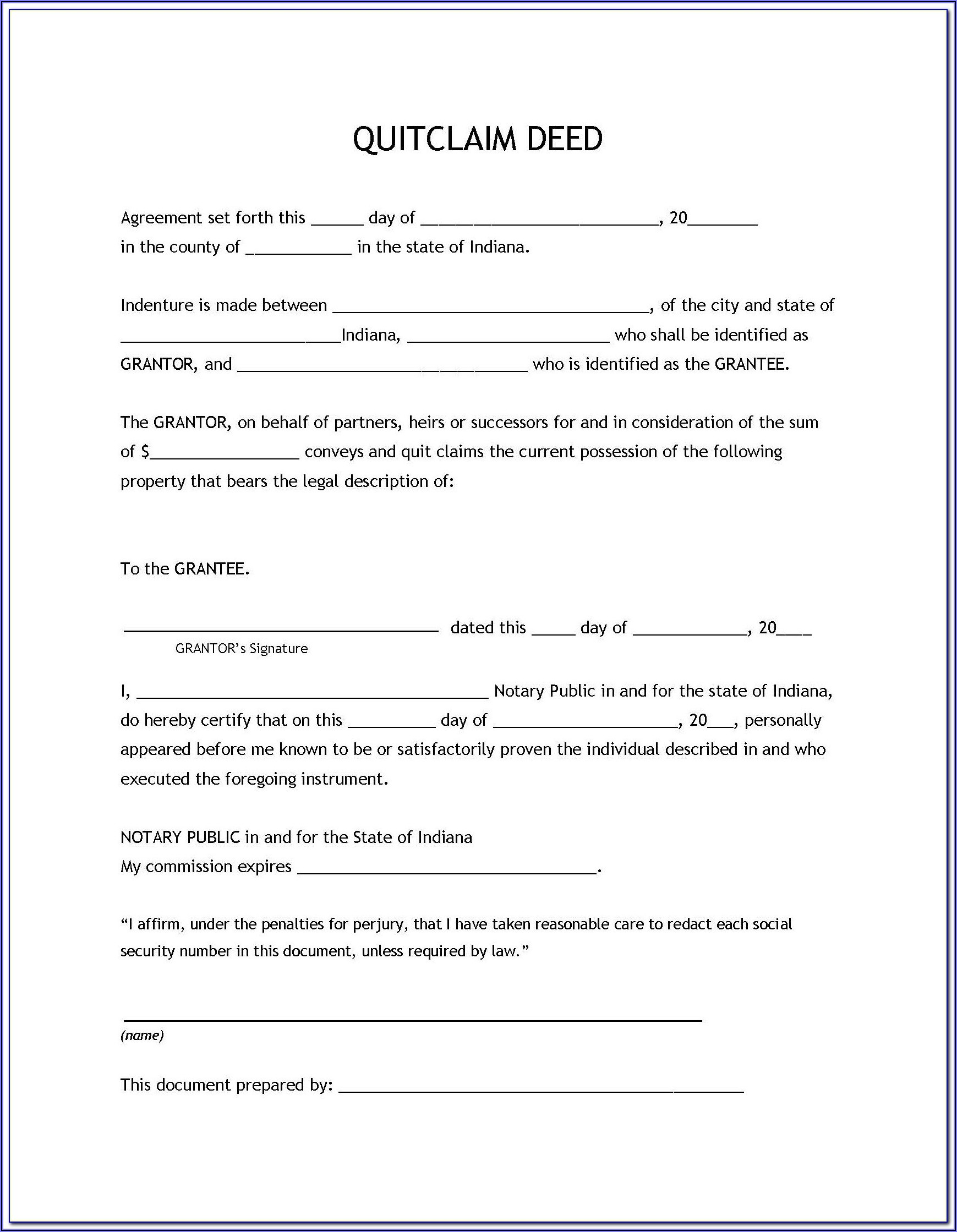 Quick Claim Deed Form Arizona