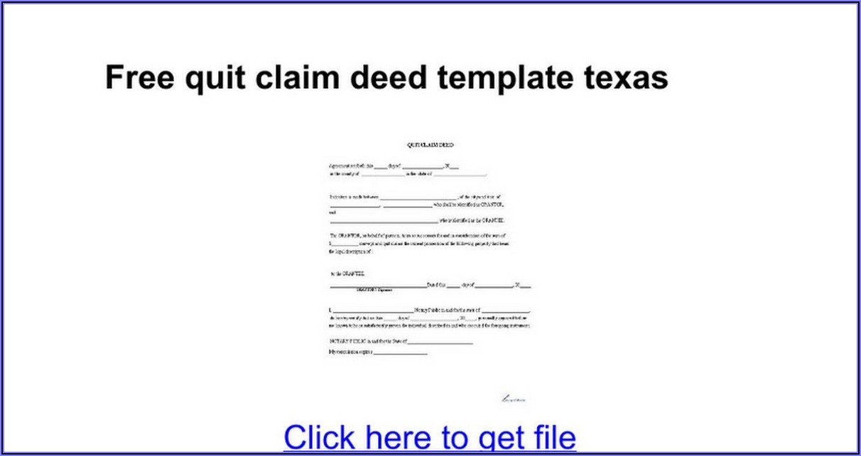Quit Claim Deed Form Texas Free