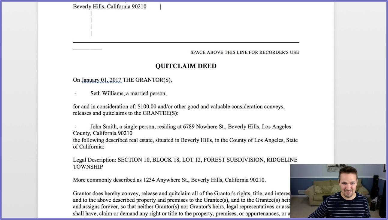 Real Estate Quit Claim Deed Form Washington State