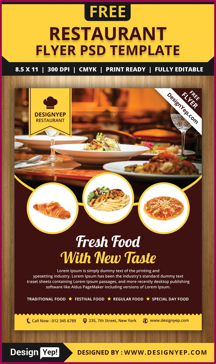 Restaurant Flyer Design Templates Free Download