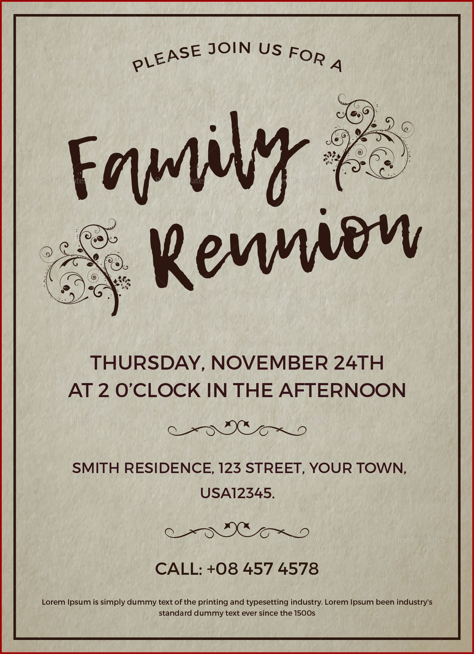 Reunion Invite Templates Free