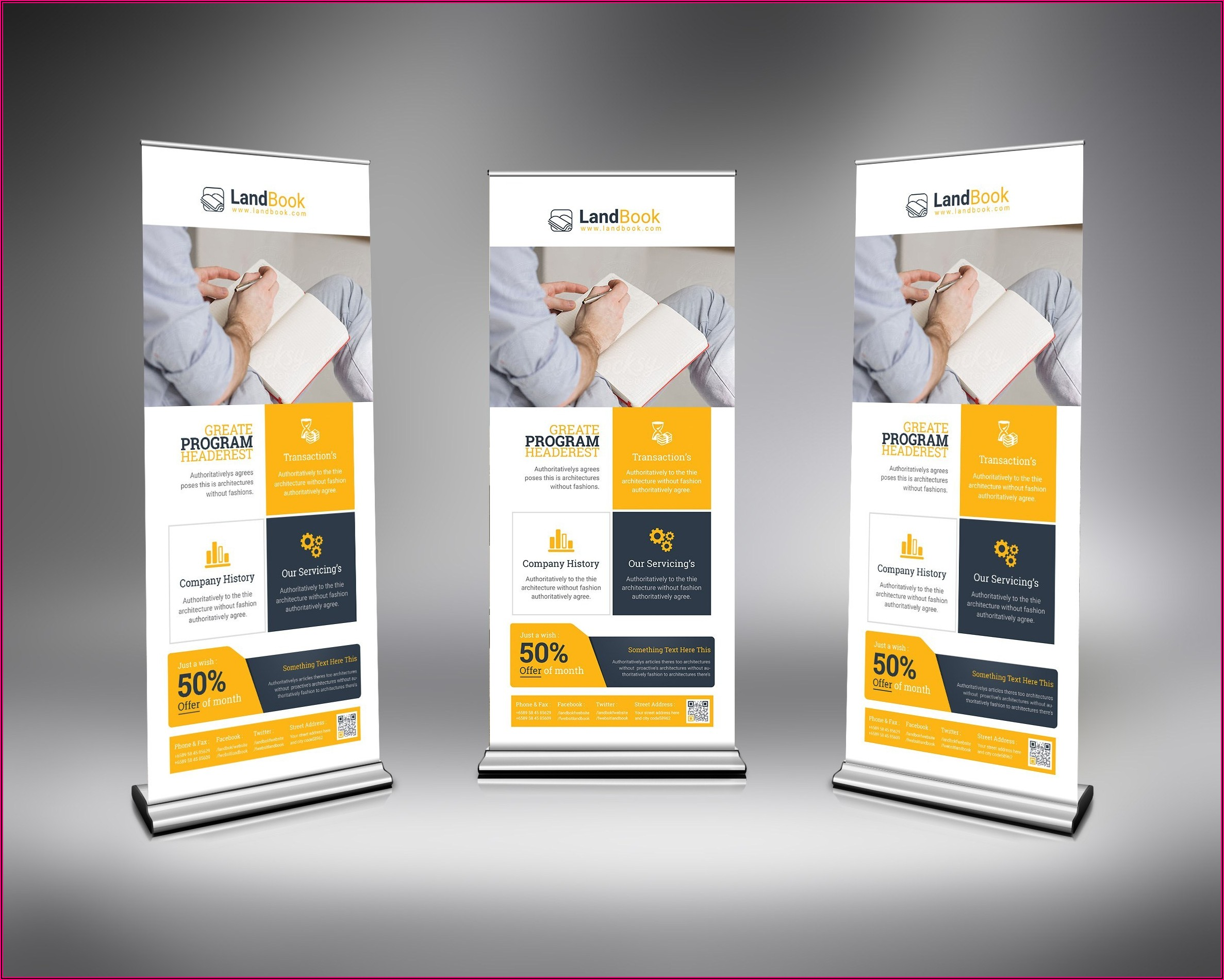 Roll Up Banner Design Template Psd