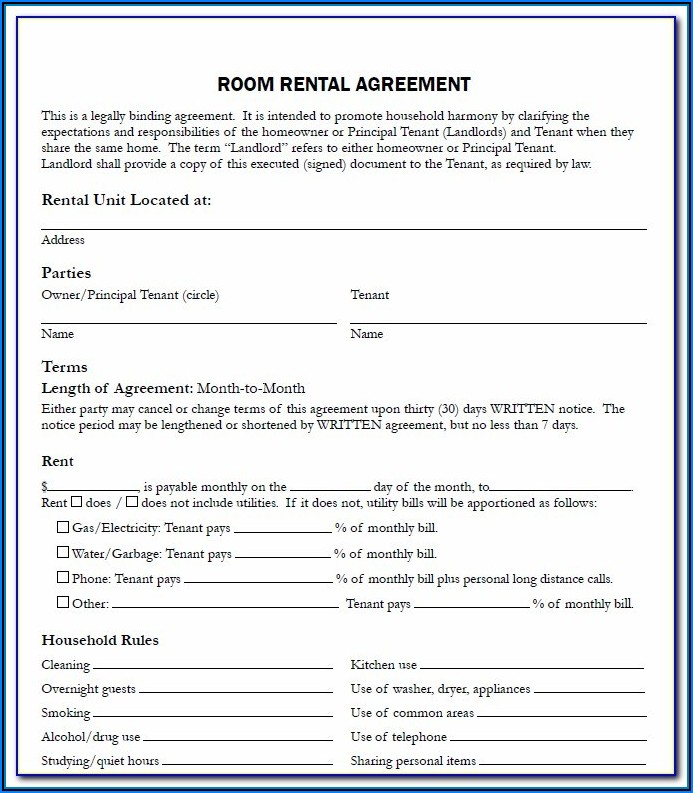 Room For Rent Agreement Form