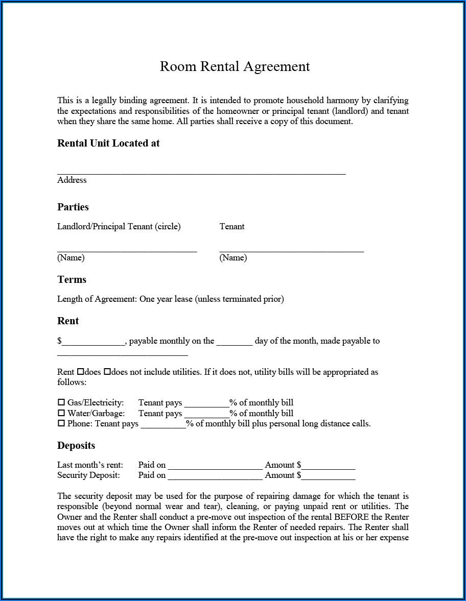 Room For Rent Lease Agreement Form