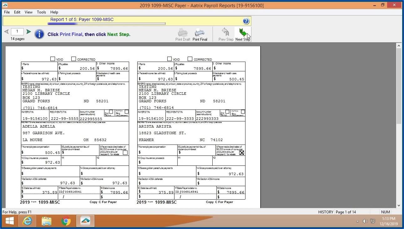 Sage 100 Contractor 1099 Forms