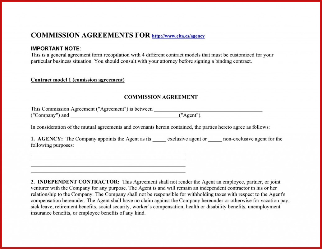 Sales Agency Agreement Form