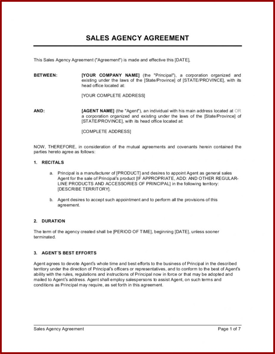 Sales Agency Agreement Template Free