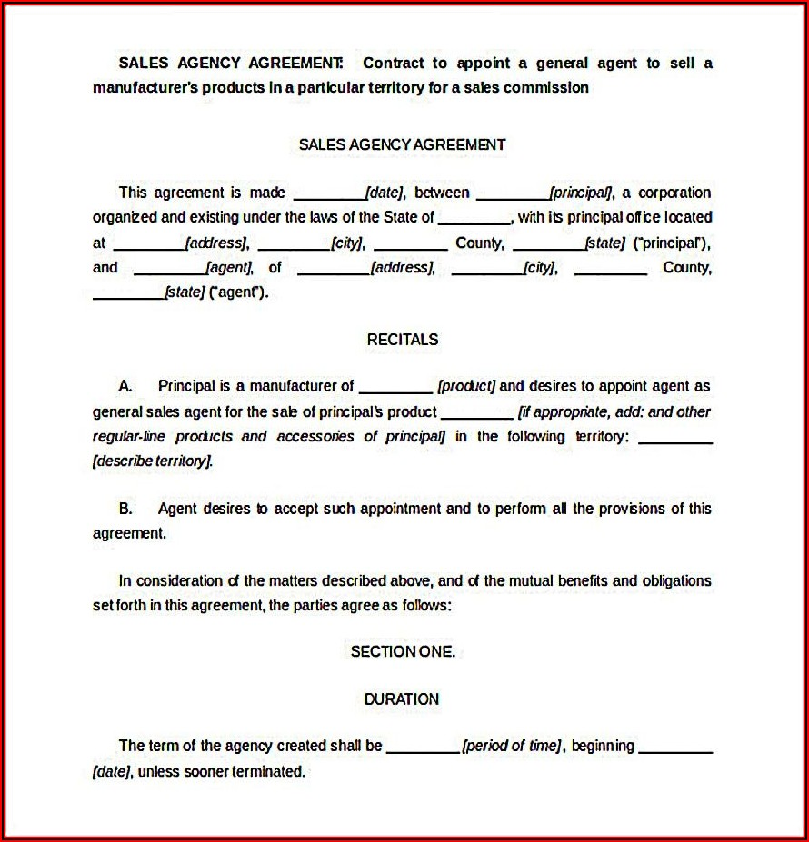 Sales Agents Contracts Template