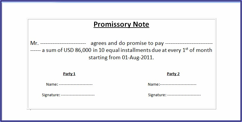 Sample Promissory Note Form