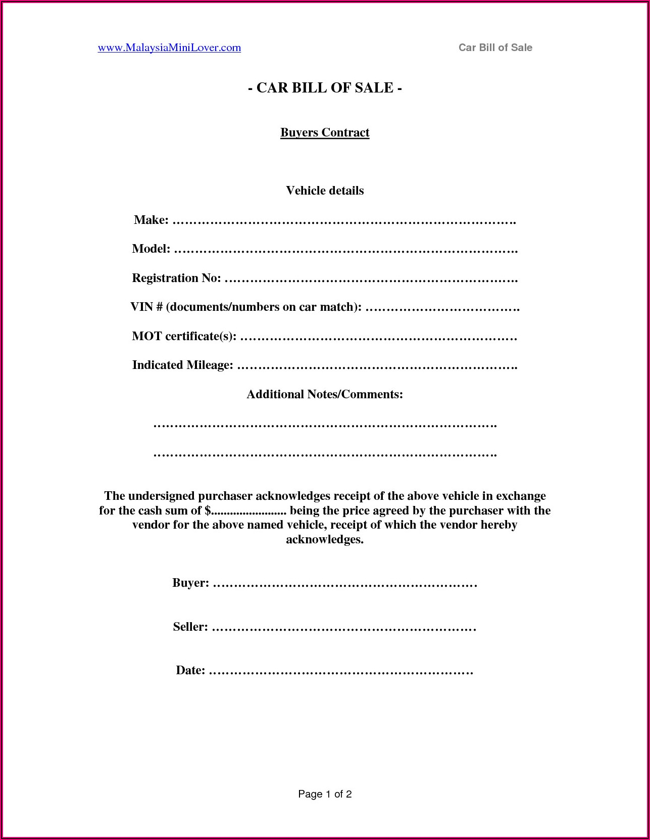 Selling A Car In Ontario Bill Of Sale Template