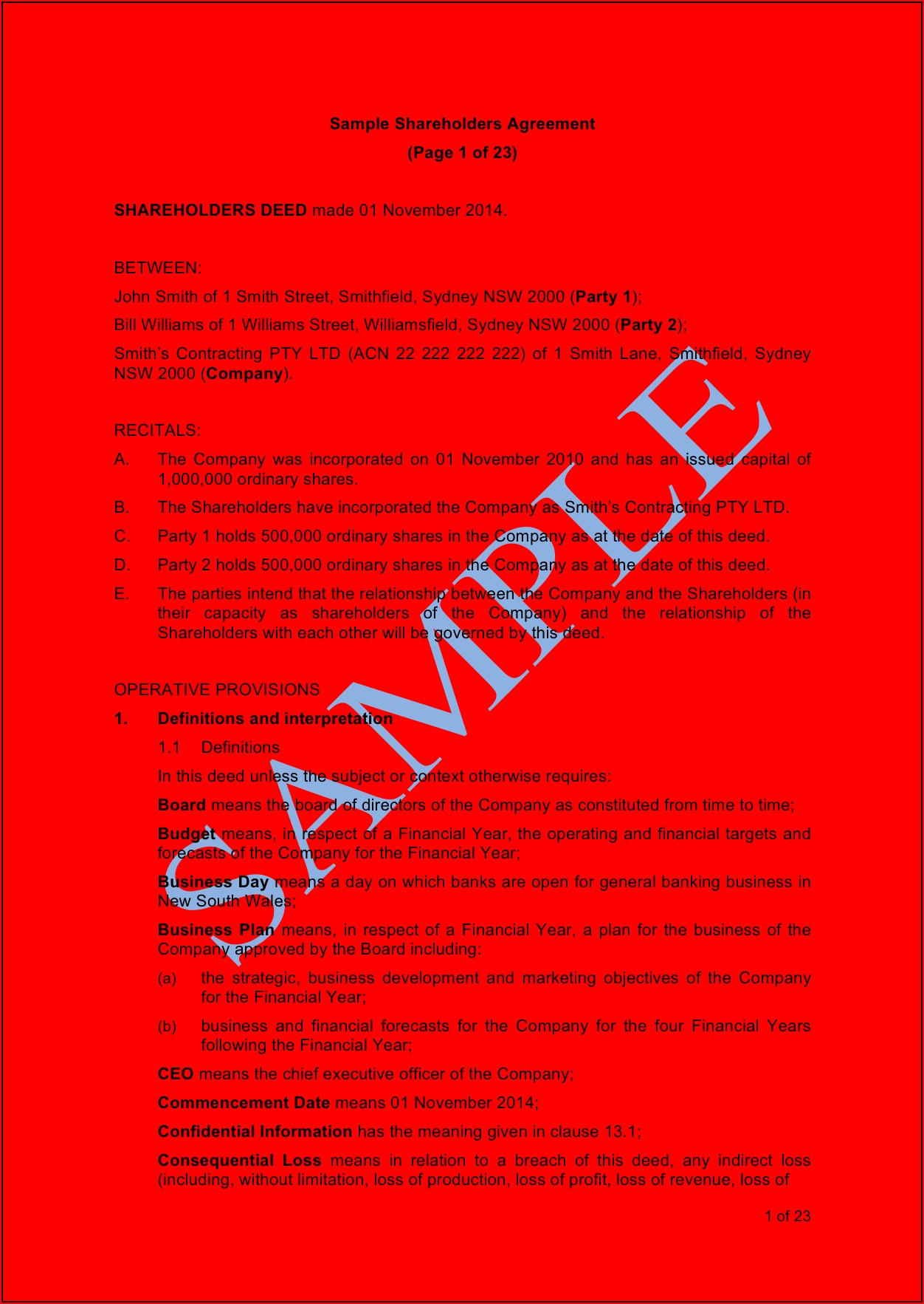Shareholder Agreement Voting Rights Template