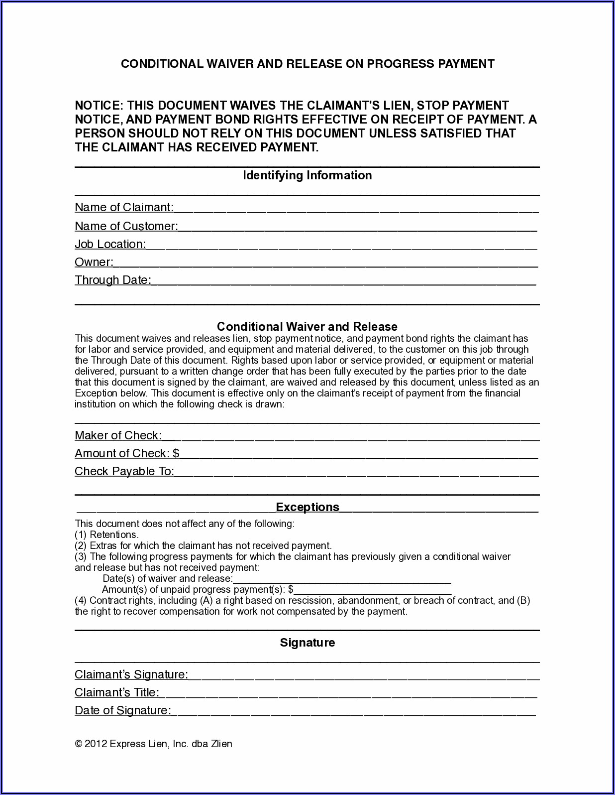 State Of Indiana Mechanics Lien Form