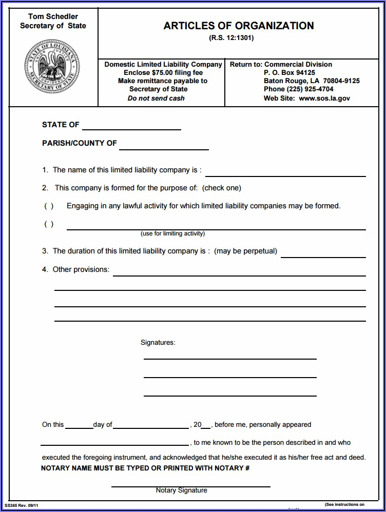 State Of Louisiana Llc Forms