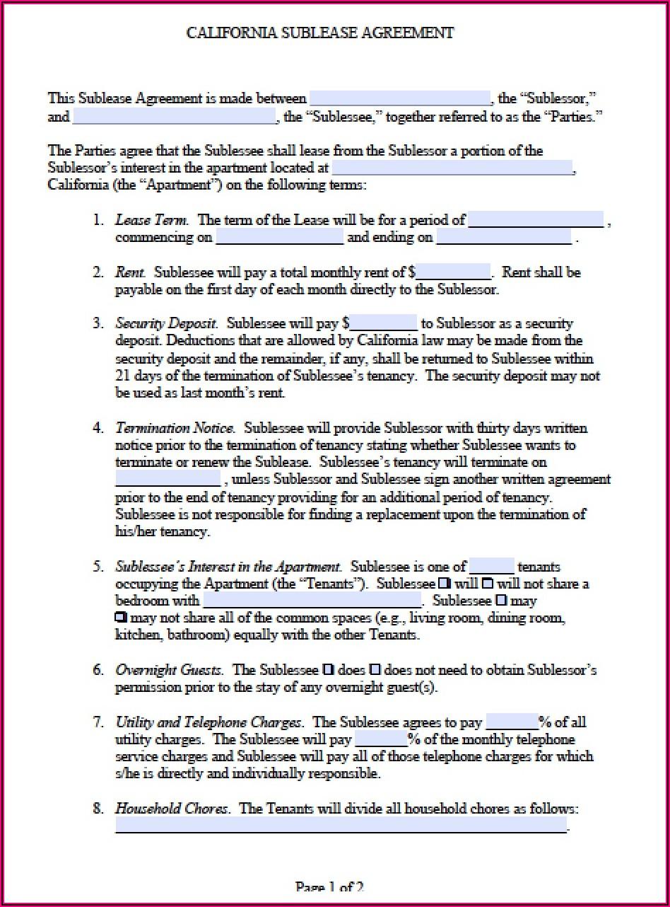 Sublease Contract California
